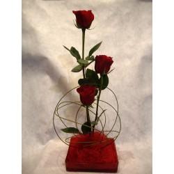 Plato de 3 rosas