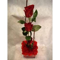 Textural cuadrado y rosas