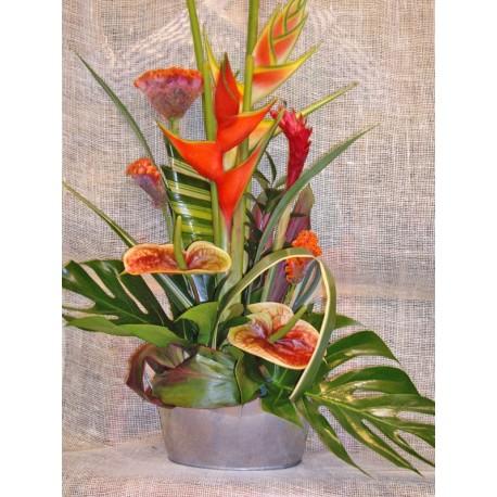 Centro exotico con heliconias